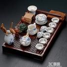 陶瓷紫砂功夫茶具冰裂白瓷茶道套裝家用實木大號排水茶盤茶臺整套HM 3C優購