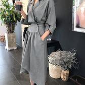 梨卡 - 秋冬簡約設計感純色縮腰不規則千鳥紋西裝長袖連身裙襯衫洋裝連身長裙BR129