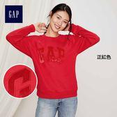 Gap女裝 Logo圓領長袖休閒上衣 396131-正紅色