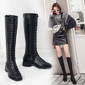 膝上靴-2019新款系帶長筒靴女冬季粗跟騎士靴低跟高筒靴加絨朋克長靴女靴