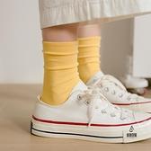 5雙裝/買2組送1組 長筒襪純棉可愛日系襪子女中筒襪薄款潮堆堆素色【愛物及屋】