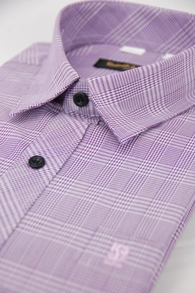 【金‧安德森】紫色寬格窄版長袖襯衫
