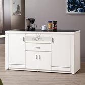 【森可家居】魯邦白色5尺黑玻餐櫃 8ZX942-3 收納廚房櫃 中島 碗盤碟櫃