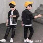 大尺碼童裝男童長褲套裝新款韓版兒童牛仔運動兩件套長袖帥氣潮衣 js8787『miss洛羽』