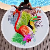沙灘巾毛巾布 圖騰 彩繪 印花 流蘇 野餐巾 海灘巾 圓形沙灘巾 150*150【YC007】 BOBI  04/03