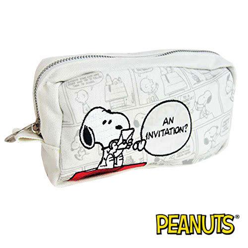 白色款【日本進口】史努比 Snoopy 帆布 筆袋 鉛筆盒 收納包 PEANUTS - 519111