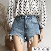 牛仔短褲 韓版寬鬆顯瘦闊腿高腰熱褲