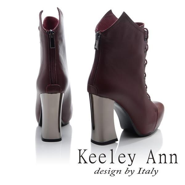 ★零碼出清★Keeley Ann騎士風格~摩登時尚綁帶全真皮高跟短靴(酒紅色)-Angel系列