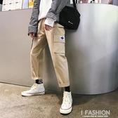 ins工裝褲男潮牌寬鬆直筒休閒褲ulzzang褲子男韓版BF風