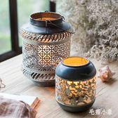 日式鐵藝燭臺 鏤空燈籠  手工藝品復古做舊ZAKKA BS21701『毛菇小象』