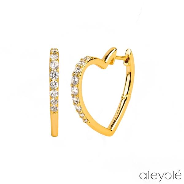 【Aleyolé】西班牙時尚 BELOVED GOLD 極簡鏤空愛心925純銀鍍18K金鋯石耳環