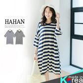 【HC4839】舒適親膚絲質棉條紋寬版洋裝