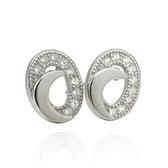 耳環 925純銀鑲鑽-簡潔亮眼生日情人節禮物女飾品2色73dm171[時尚巴黎]