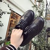 牛津鞋 英倫復古圓頭小皮鞋女ins黑色低跟粗跟平底牛津鞋布洛克加絨單鞋 霓裳細軟