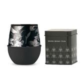 HYDY 時尚蛋型杯 油墨黑-黑花 240ml +山山來茶鐵盒組