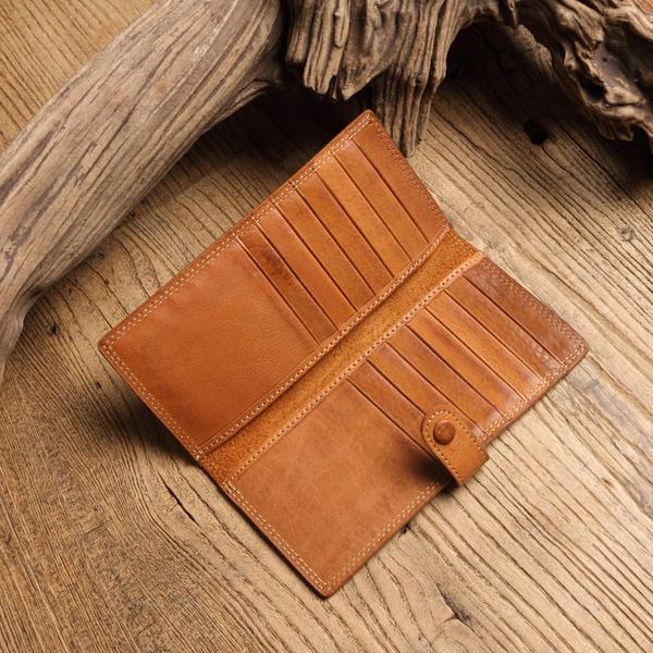 【Solomon 原創設計皮件】 釦式薄型長夾 森林色系真皮 直式多卡