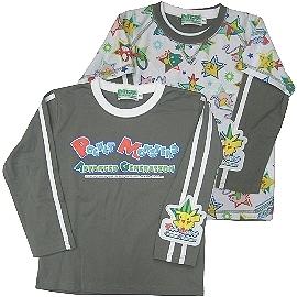 【波克貓哈日網】日本二件式童裝T恤◇神奇寶貝圖案◇《110cm》灰色邊領