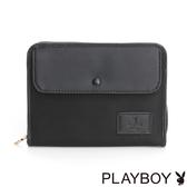 PLAYBOY- 護照夾 Charming Black 魅力墨黑系列-黑色