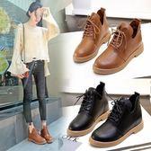平底短靴女大東春秋新品單靴子學生舒適百搭系帶馬丁靴女女鞋