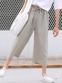 【快樂購】褲子女新款寬松格子七分褲薄款直筒高腰垂感闊腿褲女夏