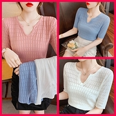 韓系冰絲短袖針織上衣 共3色 依二衣