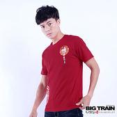 BIG TRAIN 家徽墨達人圓領短袖T-男-紅色