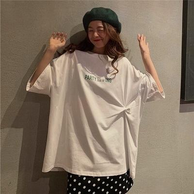 (下殺)棉打結中長版短袖t恤女夏季大版bf港風設計感【08SG06836】