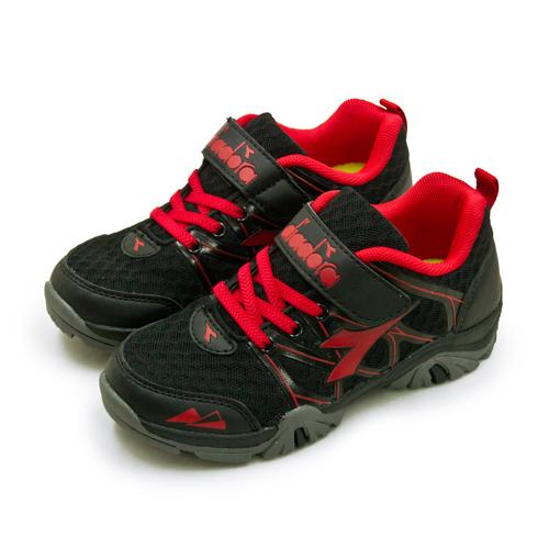 LIKA夢 DIADORA 迪亞多那 19cm-23cm 戶外4E寬楦越野跑鞋 放肆探險系列 黑紅灰 7190 中童