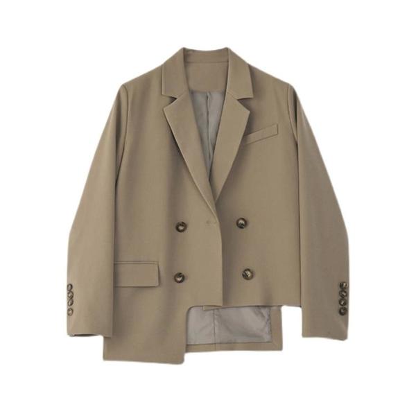 西裝外套 棕色西裝外套女設計感小眾不規則剪裁韓版寬鬆西服