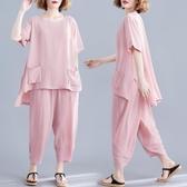 洋氣大碼女裝適合胖女人穿的套裝遮肚顯瘦夏季寬鬆減齡百搭兩件套 快速出貨