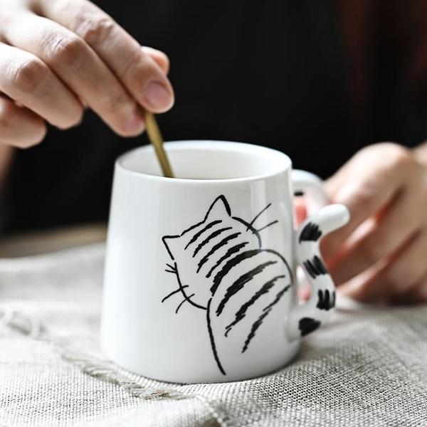 日本馬克杯 日本創意小貓陶瓷馬克杯 小兔子咖啡杯早餐牛奶杯水杯 新年禮物