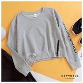 Catworld 袖英字側拉鍊短版運動T【11407060】‧S-XL