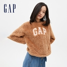Gap女裝 Logo仿羊羔絨圓領休閒上衣 655689-可哥棕