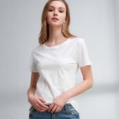 夏裝短袖t恤女新款韓范竹節棉寬鬆衣服半袖純色大碼上衣 免運