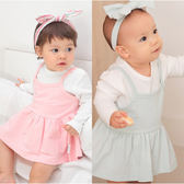 Augelute Baby 簡約質感洋裝+長袖包屁衣 附髮帶 70115