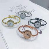 手錶 女學生手鐲式開口正韓簡約氣質百搭復古迷你小巧細手鍊條腕錶 快速出貨
