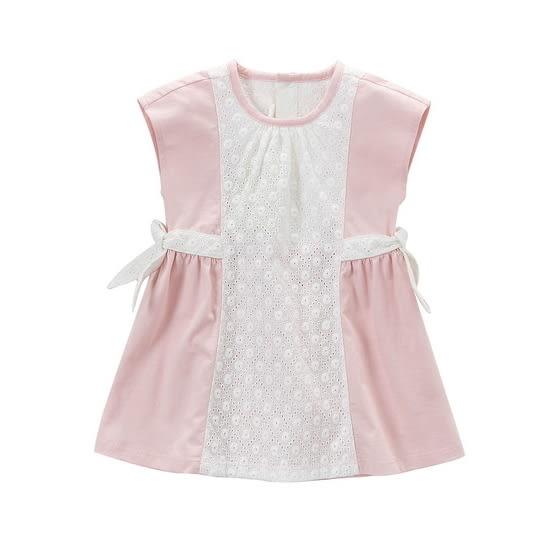 洋裝 小童/大童 DaveBella 綁帶無袖洋裝 (婚宴/喜宴/宴會/花童可著) - 粉白雕花 DB4462