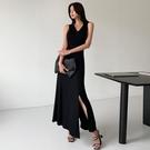 無袖洋裝小禮服 赫本風長裙收腰及踝氣質顯瘦V領無袖連身裙休閑裙子夏2021年夏季