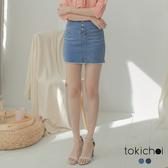 東京著衣-tokichoi-女人休閒風彈力刷色包臀牛仔短裙-S.M.L(190196)