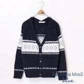 ❖ Hot item ❖ V領幾何圖案長袖針織開襟罩衫/外套 - Sm2 BLUE