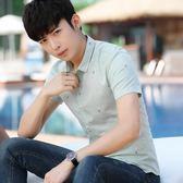 短袖襯衫男 韓版男裝上衣 夏季新款時尚簡約男式短袖青少年修身薄款上衣服休閒印花襯衫cs185
