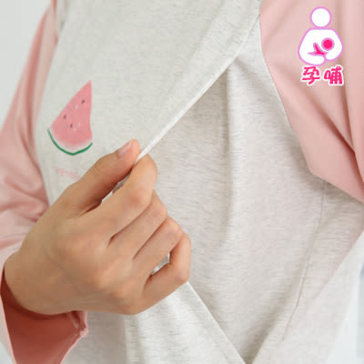 【愛天使孕婦裝】韓版(85040)舒適棉 甜美西瓜哺乳衣套裝 孕婦裝