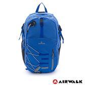 美國 AIRWALK  幾何線條 雙層護脊輕量筆電後背包-寶藍
