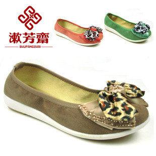 牛筋平底 時尚韓版蝴蝶結帶鑽女鞋子