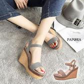 涼鞋.文青風氣質格紋楔型厚底涼鞋【K4603】黑 / 粉