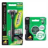 日本貝印 (KAI) 2入特惠組 K4深剃舒適刮鬍刀 + 4刀刃刮鬍刀刀片(6入)