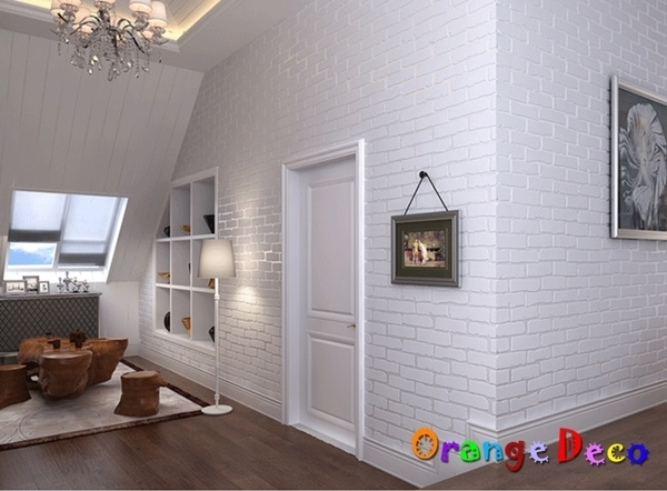 壁貼【橘果設計】歐式磚紋壁紙(米白)10米長DIY組合壁貼 牆貼 壁貼 室內設計 裝潢