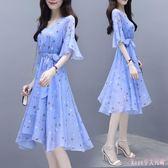 雪紡洋裝 新款氣質女真絲雪紡修身顯瘦洋裝短袖不規則沙灘長裙子LB12360【Rose中大尺碼】