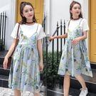 假兩件孕婦洋裝 2019夏裝新款印花中大尺碼連身裙寬鬆休閒顯瘦中長款裙子夏 rj1149『pink領袖衣社』
