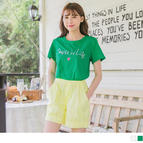 《AB9896》簡單生活字母愛心刺繡高棉T恤/上衣 OrangeBear